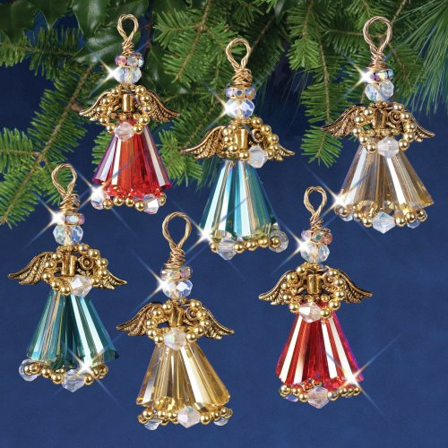 Nostalgic Christmas Beaded Crystal Ornament Kit-Crystal Angels Gold