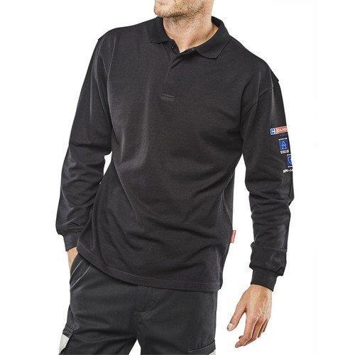 Click CARC1N4XL ARC Compliant Flame Retardant Long Sleeve Polo Shirt Navy Blue XXXXL