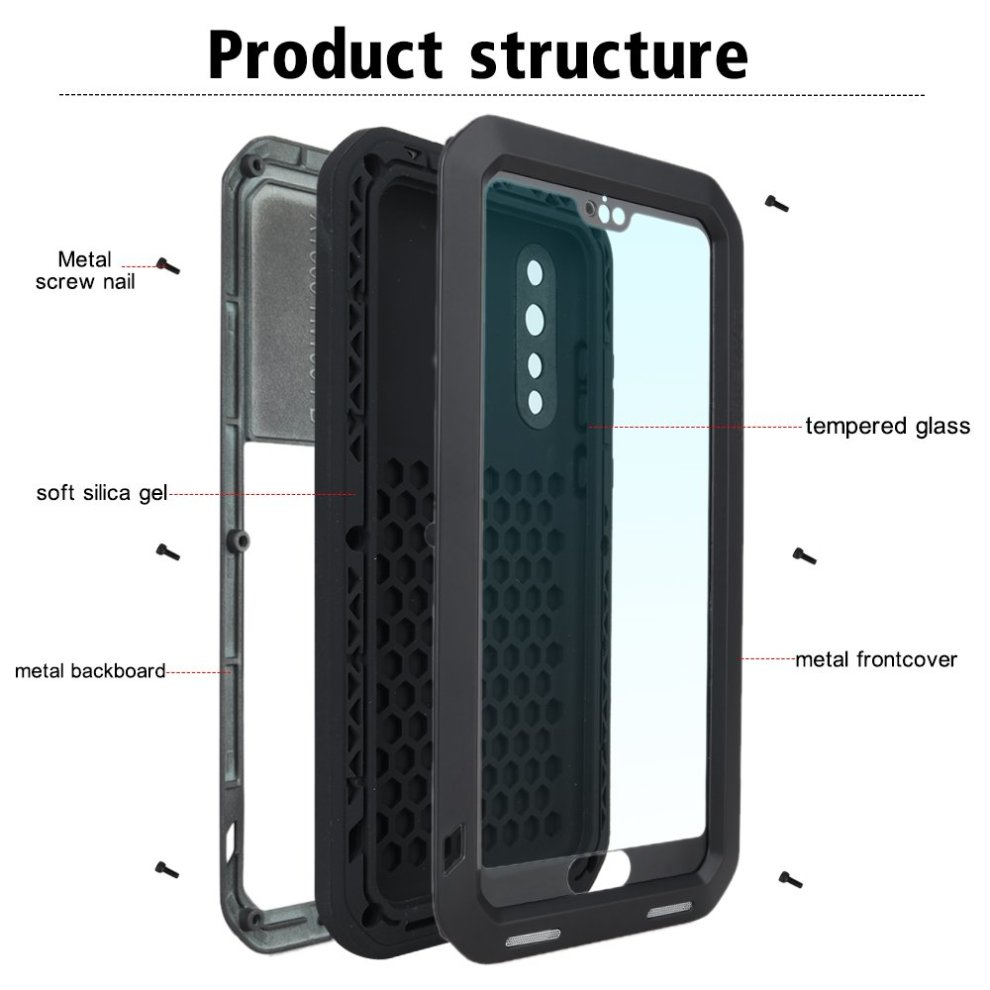 quality design fef89 82cb5 Huawei p20 pro Case, Eastcoo Armor Tank Hybrid Aluminum Metal Bumper Heavy  Duty case with Gorilla Glass Screen protect Extreme Hybrid Shockproof...