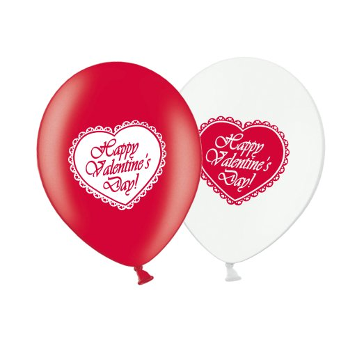 """Valentine's Day Lace Heart  - R&W Asst 12"""" Latex Balloons pack of 8"""