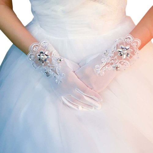Bridal Wedding Gloves Party Dress Lace Short Gloves B02