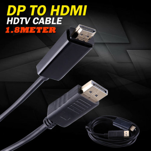 QUALITY DISPLAY PORT DP TO HDMI MALE LCD PC HD TV LAPTOP AV CABLE ADAPTOR 1.8M