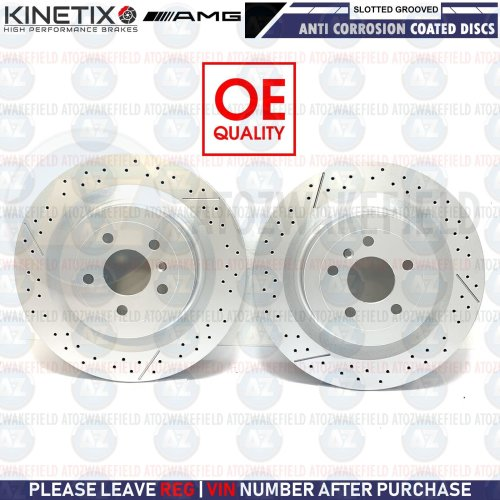 FOR MERCEDES ML63 AMG 2011-2015 REAR SLOTTED & GROOVED BRAKE DISCS PAIR 345mm
