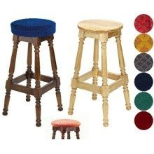 Tamara Wood Bar Stool - Padded / Unpadded Burgundy Fabric Button Seat Walnut