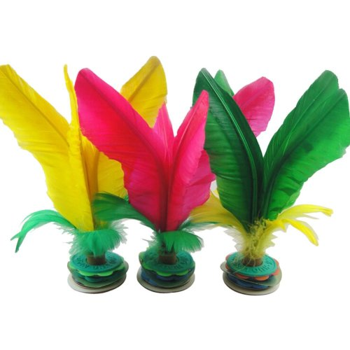 10 Pcs Colorful Feather Kick Shuttlecock Chinese Jianzi Sport, Random Color