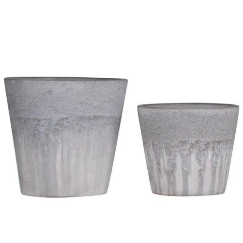 Urban Trends Collection 58100 Cement Round Pot with Cracked Design Body & Tapered Bottom Washed Finish - Gray