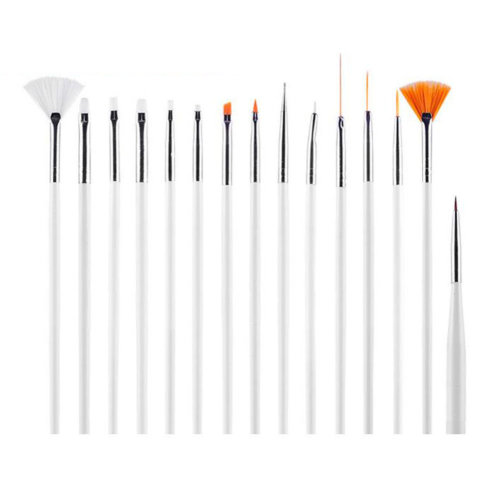 15 PCS Toe Nail Art Pens Nail Brush Nail Art Tools Nail Supply Art Nails White