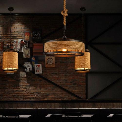 Vintage Industrial Loft Hemp Rope Iron Pendant Ceiling Light Retro Lamp Hot