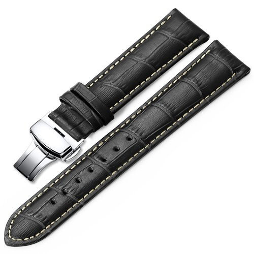 Leather Watch Strap 18mm 19mm 20mm 21mm 22mm 24mm Black Brown Embossed Grain Classic Design Replacement Watch Band Silver Polished Deployment...