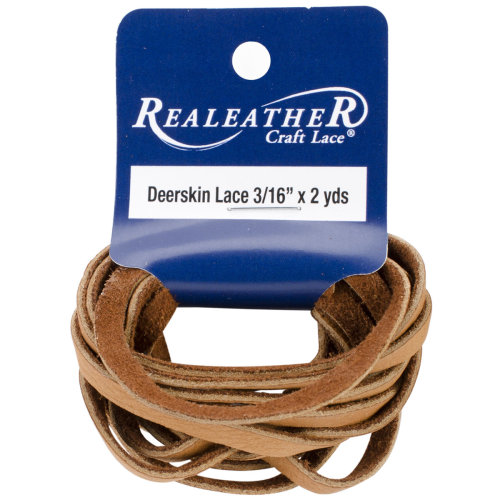"Realeather Crafts Deerskin Lace .1875""X2yd Packaged-Saddle Tan"
