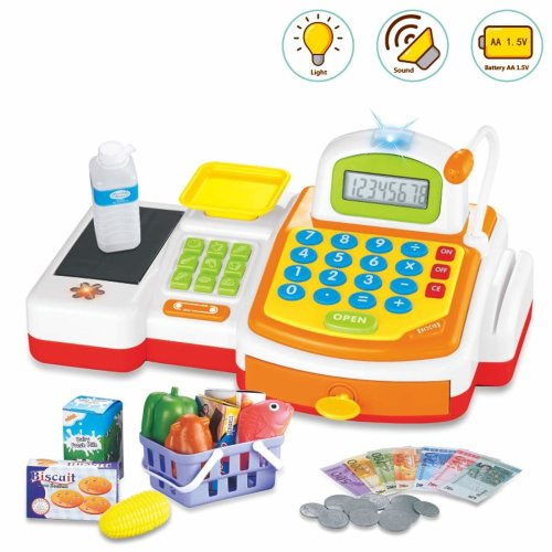 deAO Play Supermarket Shop Toys With Calculator ,Working Scanner,Credit Card ,Play Food ,Money and Groceries Shopping Basket (YELLOW)