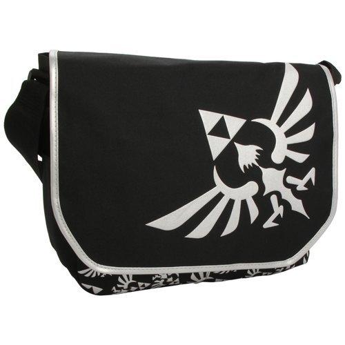 NINTENDO LEGEND OF ZELDA Polyester Messenger Bag with Embroider Link Logo, Black/White (MB00GTNTN)