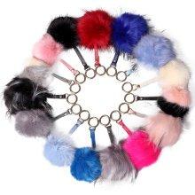Miss Lulu Women Fur Pompom Keyring Bag Charm Pom Pom Plush Ball Keychain Ring