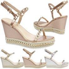 Molly Womens High Wedge Heel Platform Studded Sandals