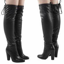 Cathy Womens High Block Heel Tie Top Over The Knee Boots