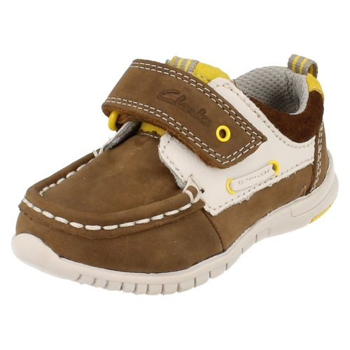 Boys Clarks First Shoes Deck Flex - Brown Leather - UK Size 4F - EU Size 20 - US Size 4.5M