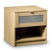 Prowder Light Oak 1 Drawer Bed Side Chest Fully Assembled Option