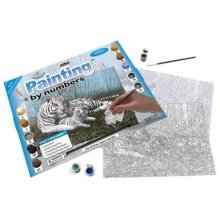Royal & Langnickel Painting by Numbers Junior Large Art Activity Kit, White Tigers In The Mist
