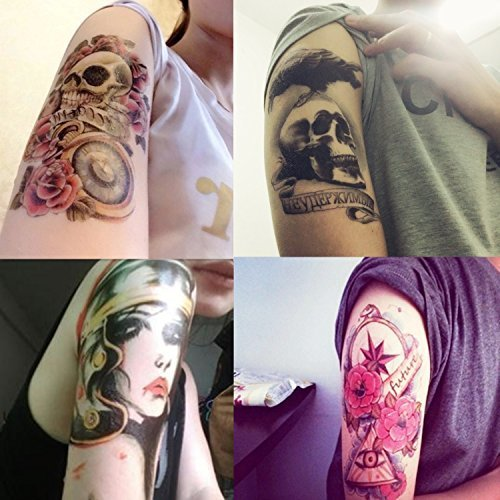 18adad0d6 DaLin 4 Sheets Rocking Your Life Temporary Tattoos Flower Skull, Rock Lady  on OnBuy