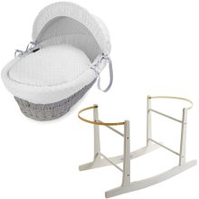 White Dimple & Grey Wicker Moses Basket With White Rocking Stand