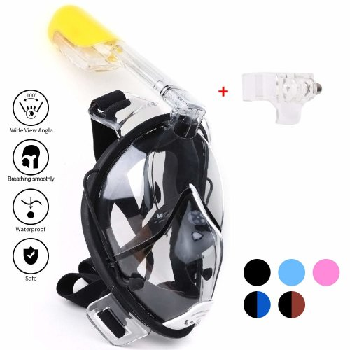 sFun Snorkeling Mask,Full Face Snorkel,180° Panoramic Full Face Snorkel (Black, S-M)