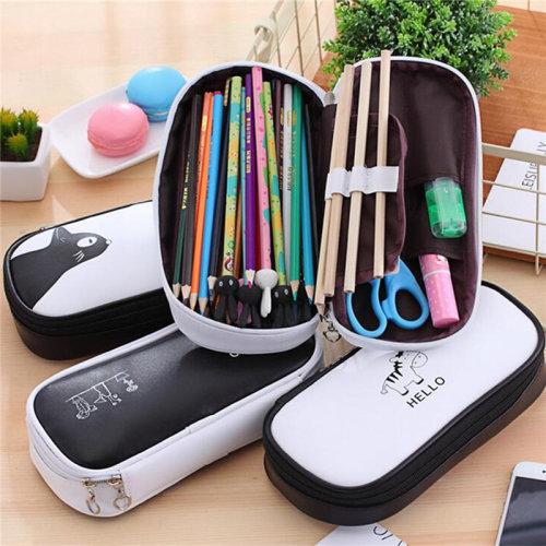 Cute Large Capacity Pen Pencil Case Stationery Makeup Cosmetic School Bag Purse