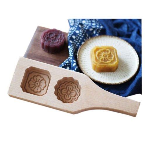 Dessert Baking Molds/Wooden Carving Baking Molds, Two Flower(25*8*3cm)