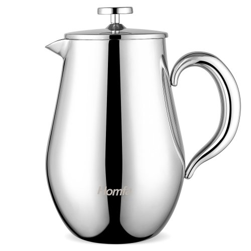 HOMFA Cafetiere 1000ml French Press Coffee Tea Maker Pot Double Wall Insulation 304 Stainless Steel