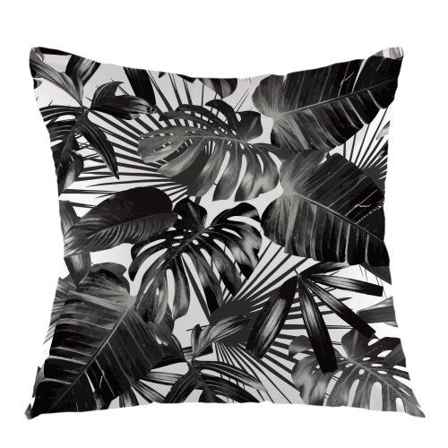 """Melyaxu Palm Leaves Decorative Throw Pillow Cover Tropical Pillow Case Square Cushion Cover 18""""X18"""" Black White"""