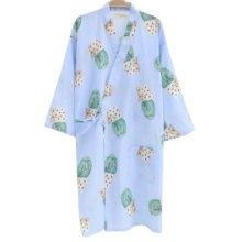 Japanese Style Women Thin Cotton Bathrobe Pajamas Kimono Skirt Gown-D04