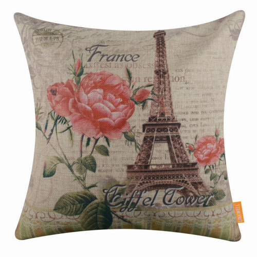 "18""x18"" France Eiffel Tower Burlap Pillow Cover Cushion Cover"