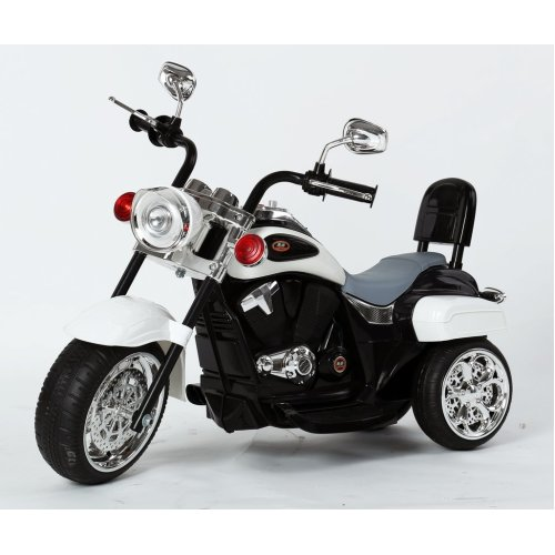 Harley-Davidson Style Kids 3 Wheel Chopper 6V Electric Motor Trike LED lights and Sound Colour White Ages 18 Months-4 Years