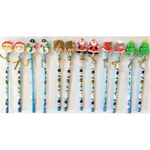 Pack of 12 Assorted Christmas Pencils With Erasers - Party Favour Bag Fillers