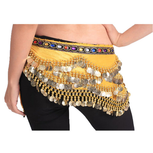 Yellow Style 318 Shinning Sequin Belly Dance Hip Scarf Costume for Dancing