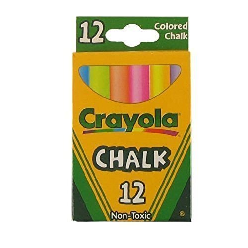 Crayola Non-Toxic White Chalk(12 ct box) and Colored Chalk(12 ct box) Bundle (2x combo)