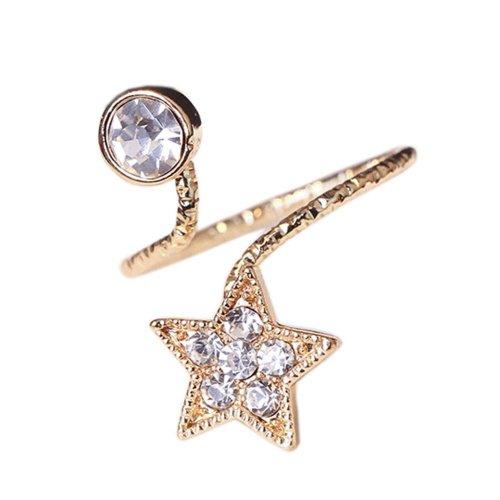 Stylish Finger Nail Ring Nail Decoration Adjustable Joint Ring, Star, Golden