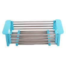 Sink Dish Drainer Rack Collapsible Over Sink Dish Drainer BLUE