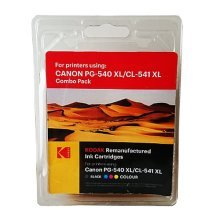 Kodak Remanufactured Canon Black (PG-540XL) & Colour (CL-541 XL) Inkjet Ink Combo Pack, 36ml