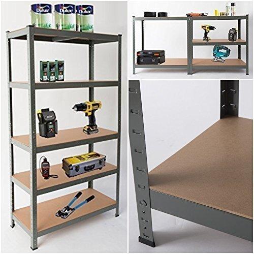 5-Tier Garage Shelving | Grey Metal Storage Shelf Unit