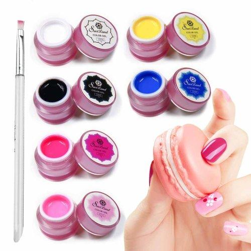 Saviland 6 Colours Nail Art Painting Nail Gel Polish Draw Acrylic Color UV LED Gel Varnish DIY Makeups Tips with Painting Pen 8g