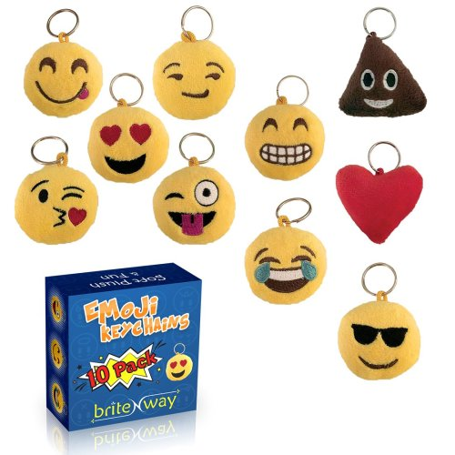 10pc Plush Emoji Keychain Set