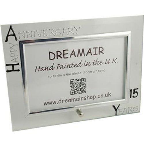 Personalised 15th Wedding Anniversary Photo Frame Crystal Anniversary (landscape)