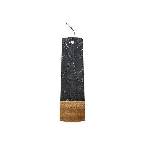 Ladelle Metta Stone and Acacia Serving Board, 15 X 50cm, Black
