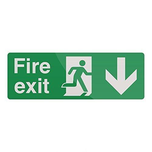 Fixman Fire Exit Arrow Sign 400 x 150mm Rigid Down - Fire Exit Arrow Rigid Sign -  fire exit arrow rigid sign 150mm down 400 fixman 752148