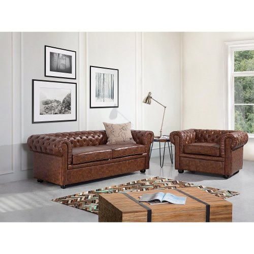 Two-Seater - Leather Couch - Quilted Loveseat - CHESTERFIELD