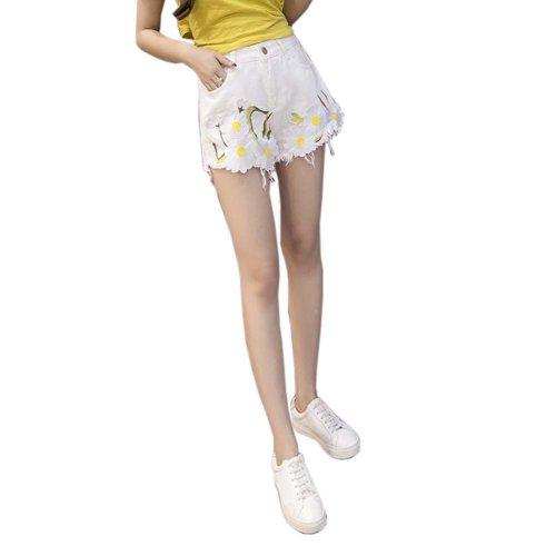 Elegant Embroidered Flower Hot Pants High Waist Denim Shorts for Ladies, D