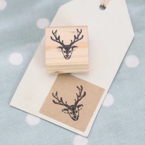 East of India Stag Wooden Rubber Stamp - Xmas / Craft / Scrapbooking