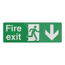 Fixman Fire Exit Arrow Sign 400 x 150mm Rigid Down - Fire Exit Arrow Rigid Sign -  fire exit arrow rigid sign 150mm down 400 fixman 752148
