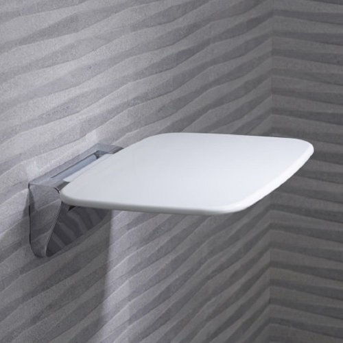 Disabled Wall Mounted Folding Bath Shower Seat Compact Luxury White