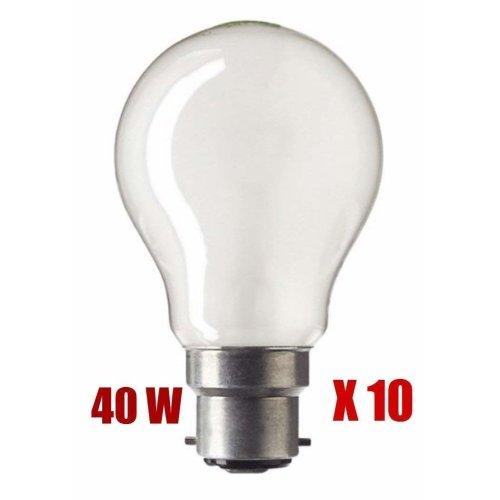 Acorn 10 Pack 40W BC frosted GLS Light Bulb Lamp 240v